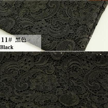 Black Embroidered Cord Lace Fabric ..