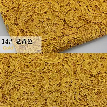 Gold Color Cord Lace Fabric For Wom..