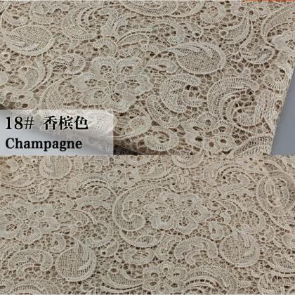 Champagne Color Cord Lace Fabric Fo..