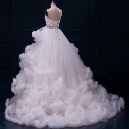 White Tulle Cloud Shaped Ball Gown ..