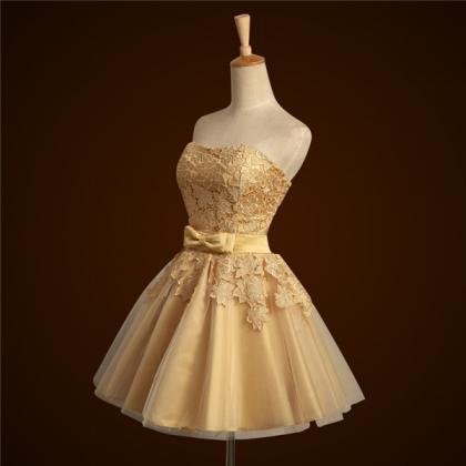 Short Gold Bridesmaid Dress For Wed..