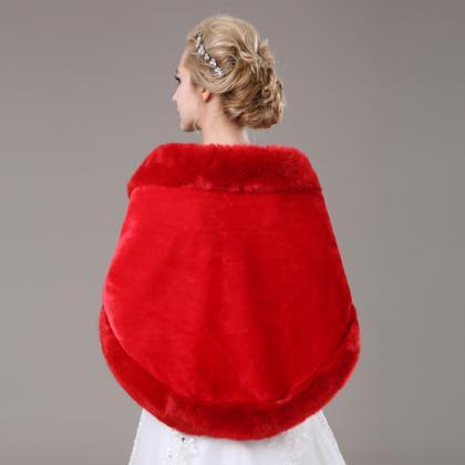 Red Artificial Fur Cape Long Bridal..