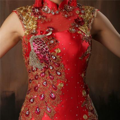 Chinese Style Red Satin Wedding Dre..