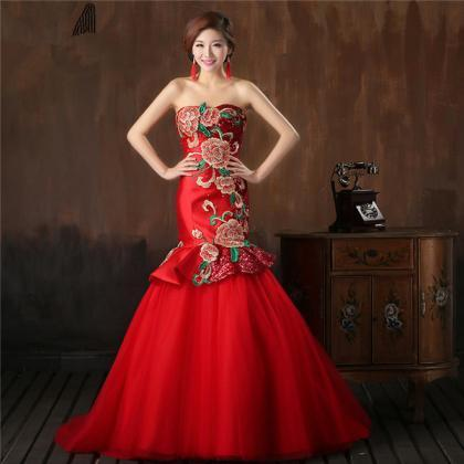 Chinese Style Red Satin Sequin Wedd..