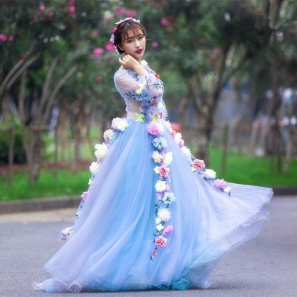Blue Tulle Sheer Wedding Dress With..
