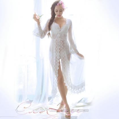 8ab00c711f9 ... Robe With Long Sleeves Women Nightwear Custom Made. White See Through  Lace Sexy Long Ro.. White See Through Lace Sexy Long Ro.