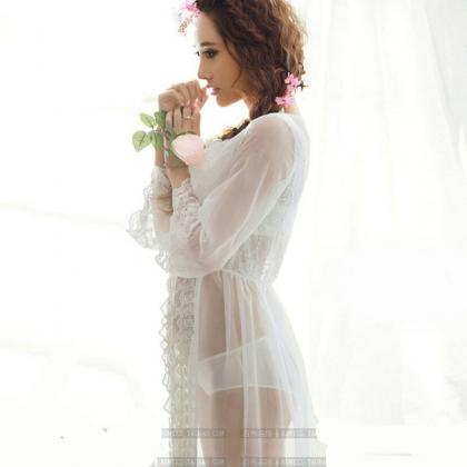 9cd1d1f54e4 White See Through Lace Sexy Long Robe With Long Sleeves Women ...