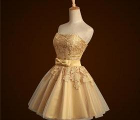 Short Gold Bridesmai..