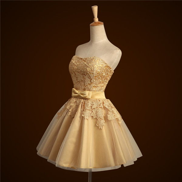 Short Gold Bridesmaid Dress For Weddings Strapless Lace Appliques Women Formal Dress Prom Dress Laced-up Closure Custom Made
