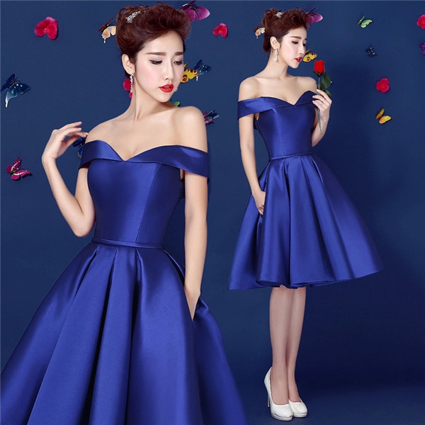 Royal Blue Satin Short Prom Dress Off Shoulder Laced-up Closure Teens Homecoming  Dress Semi 7ba20719a