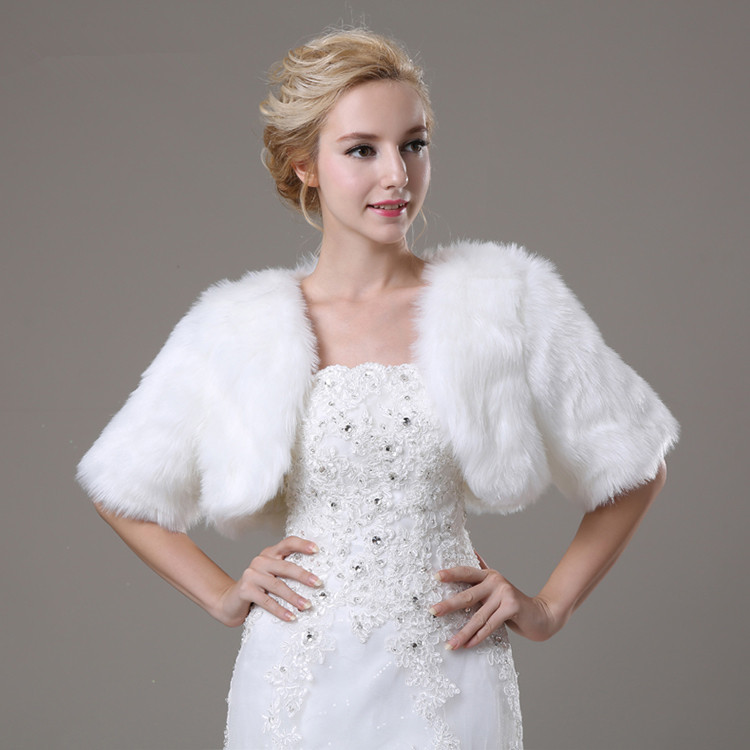 White Artificial Fur Bolero With Short Sleeves Bridal Faux Jacket For Wedding Women Winter