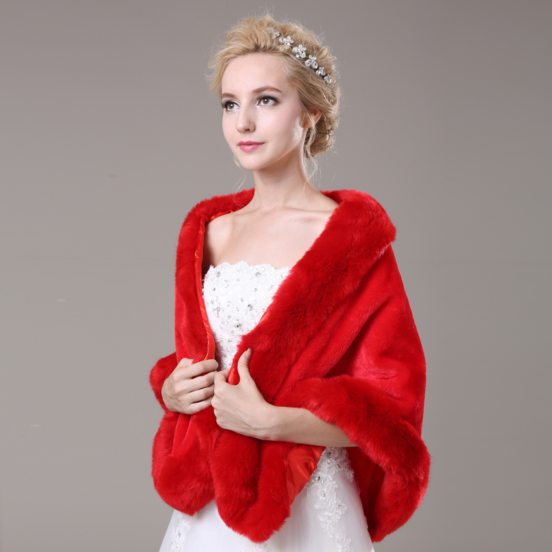 Red Artificial Fur Cape Long Bridal Wedding Wrap Women Winter Wear