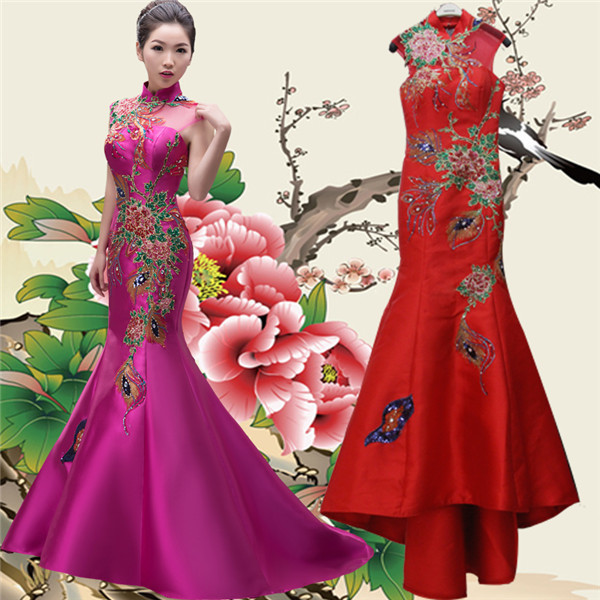 Chinese Style Satin Women Formal Dress With Flower Pattern High Neck