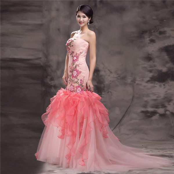 Pink Mermaid Wedding Dress With Flower Pattern Strapless Appliques Laced-up Closure Long Women Formal Gown Custom Made