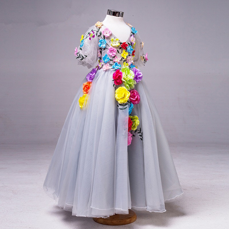 Silver ball gown flower girls dress with colorful flowers floor silver ball gown flower girls dress with colorful flowers floor length v neck short sleeves little mightylinksfo