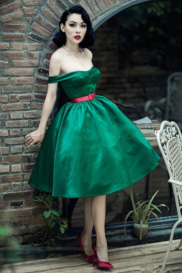 Green Satin Short Ball Gown Prom Dress Off Shoulder Vintage Teens ...