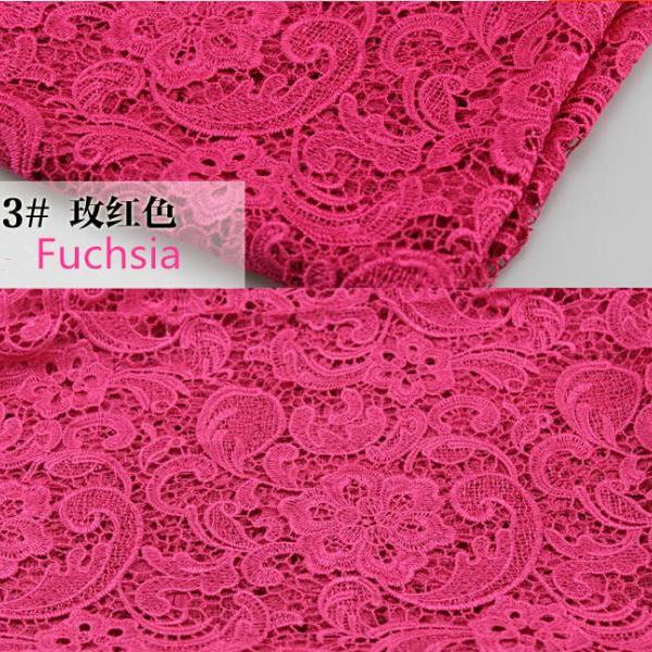 Fuchsia Color Embroidered Cord Venice Lace Fabric For Women Dresses Water Soluble Guipure Lace 120 cm Width