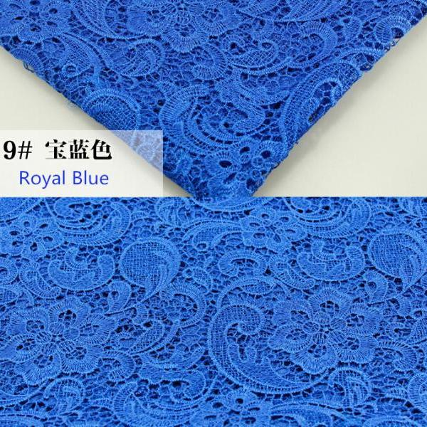 Royal Blue Color Embroidered Cord Lace Fabric For Women Dresses Water Soluble Guipure Lace 120 cm Width