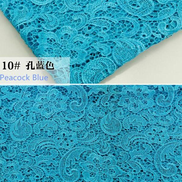 Turquoise Color Embroidered Cord Lace Fabric For Women Dresses Water Soluble Guipure Lace 120 cm Width