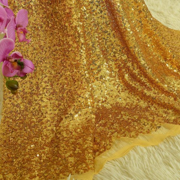 Gold Metallic Embroidery Sequin Lace Fabric For Women Wear 48 Inch Width Sold At Yard