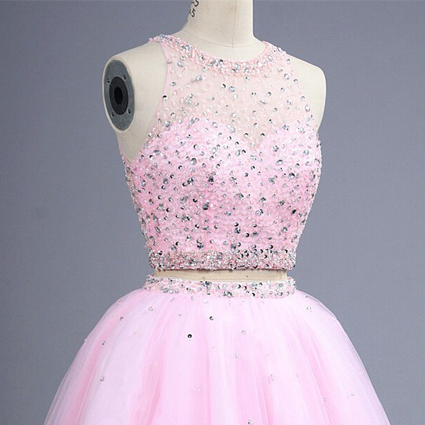 Short Pink Beaded Crop Tops Teens Homecoming Dress Open Back 2 Piceces Sexy Prom Dress Graduation Dress Custom Made