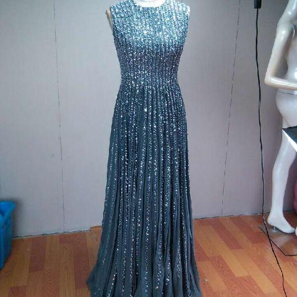 Sparkling Full Beading Luxury Evening Gowns Sleeveless Pleated Gray Chiffon A Line Long Women Formal Dress Custom Made