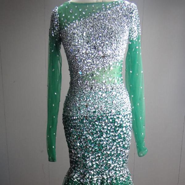 Luxurious Sparkling Beading Dark Green Prom Dress With Long Sleeves Plunging Back Short Trail Mermaid Sexy Women Formal Evening Gown Custom Made