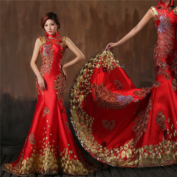 Chinese Style Red Satin Wedding Dress With Chic Decorations High Neck Cutout Back Mermaid Women Formal Evening Gown Custom Made