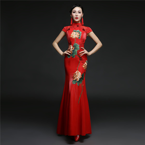 Chinese Style Red Women Formal Dress With Flower Pattern High Neck Short Sleeves Floor Length Tight Evening Gown Custom Made