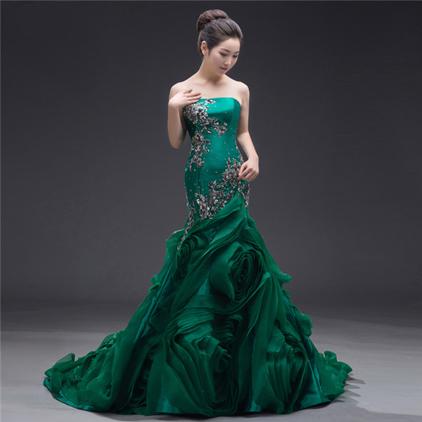 Embellished Dark Green Organza Mermaid Wedding Dress Spiral Ruffles Strapless Laced-up Closure Long Women Formal Gown Custom Made